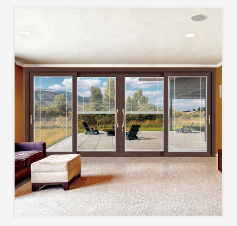4 panel thermal break alu flush high quality sliding glass door with built-in blinds on China WDMA
