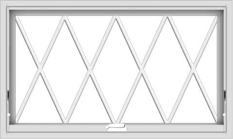 WDMA 40x24 (39.5 x 23.5 inch) White Vinyl uPVC Crank out Awning Window without Grids with Diamond Grills