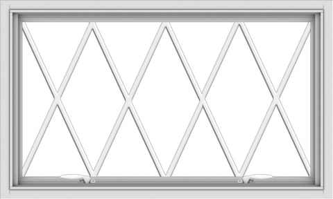 WDMA 40x24 (39.5 x 23.5 inch) White uPVC Vinyl Push out Awning Window without Grids with Diamond Grills