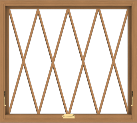 WDMA 40x36 (39.5 x 35.5 inch) Oak Wood Dark Brown Bronze Aluminum Crank out Awning Window without Grids with Diamond Grills