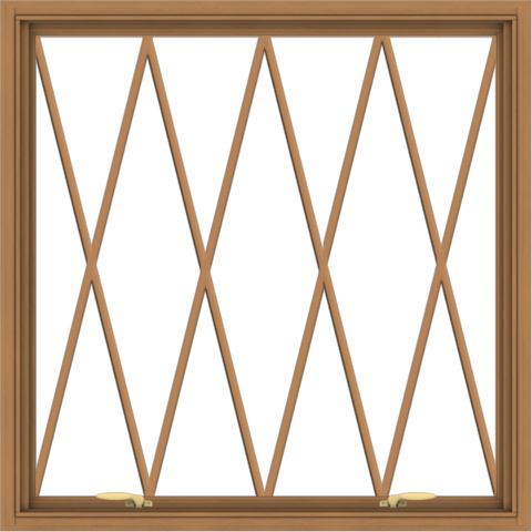 WDMA 40x40 (39.5 x 39.5 inch) Oak Wood Green Aluminum Push out Awning Window without Grids with Diamond Grills