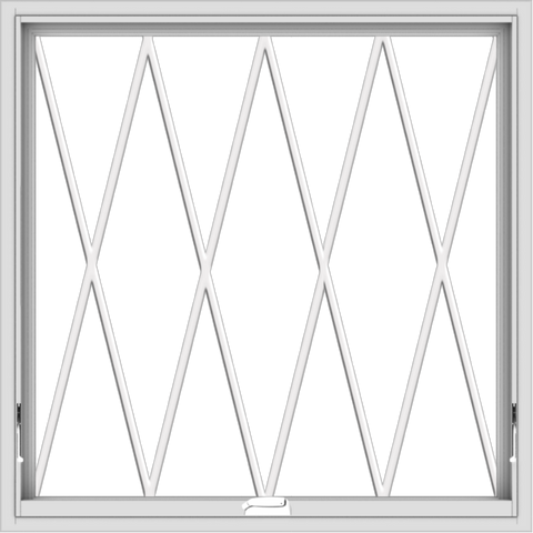 WDMA 40x40 (39.5 x 39.5 inch) White Vinyl uPVC Crank out Awning Window without Grids with Diamond Grills