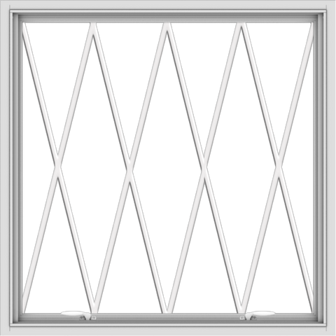 WDMA 40x40 (39.5 x 39.5 inch) White uPVC Vinyl Push out Awning Window without Grids with Diamond Grills