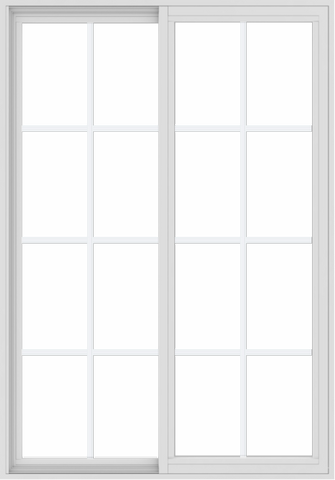 WDMA 42x60 (41.5 x 59.5 inch) Vinyl uPVC White Slide Window with Colonial Grids Exterior