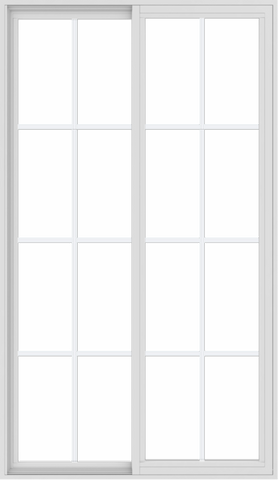 WDMA 42x72 (41.5 x 71.5 inch) Vinyl uPVC White Slide Window with Colonial Grids Exterior