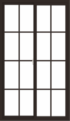 WDMA 42x72 (41.5 x 71.5 inch) Vinyl uPVC Dark Brown Slide Window with Colonial Grids Exterior
