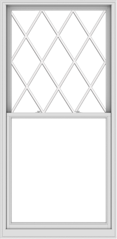 WDMA 44x90 (43.5 x 89.5 inch)  Aluminum Single Double Hung Window with Diamond Grids
