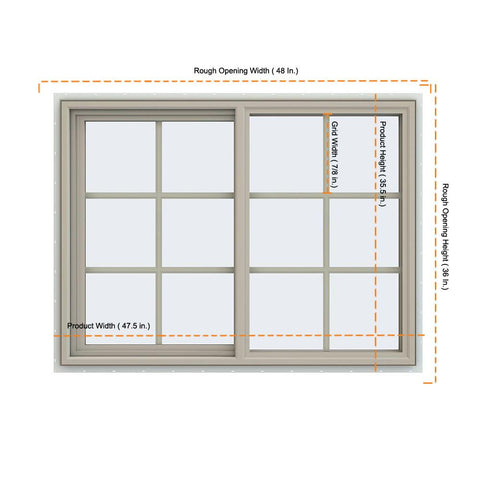 48x36 47.5x35.5 Vinyl PVC Sliding Window With Colonial Grids Grilles