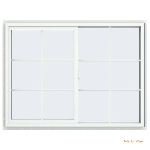 48x 36 47.5x35.5 White Vinyl Sliding Window With Colonial Grids Grilles