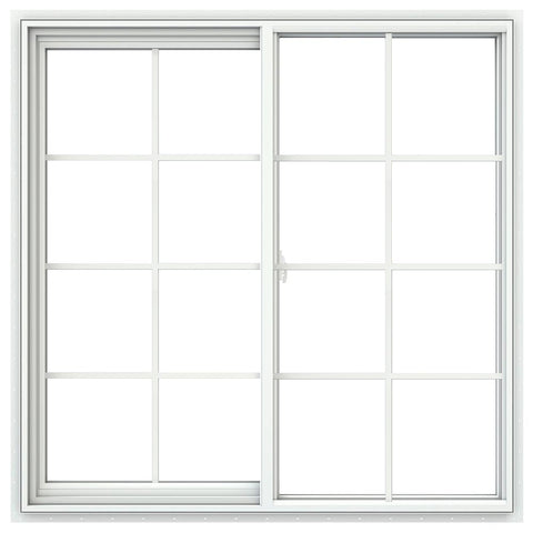 48x48 47.5x47.5 White Vinyl Sliding Window With Colonial Grids Grilles