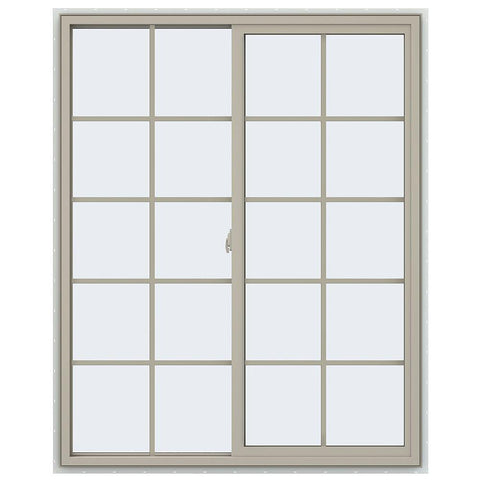48x60 47.5x59.5 Bronze Vinyl Sliding Window With Colonial Grids Grilles