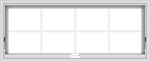 WDMA 48x20 (47.5 x 19.5 inch) White Vinyl uPVC Crank out Awning Window with Colonial Grids Interior