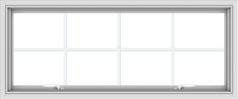 WDMA 48x20 (47.5 x 19.5 inch) White uPVC Vinyl Push out Awning Window with Colonial Grids Interior