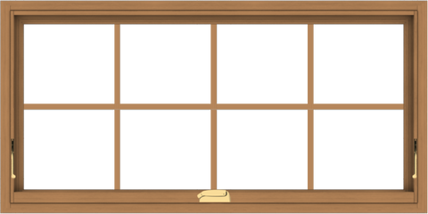 WDMA 48x24 (47.5 x 23.5 inch) Oak Wood Dark Brown Bronze Aluminum Crank out Awning Window with Colonial Grids Interior