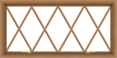 WDMA 48x24 (47.5 x 23.5 inch) Oak Wood Green Aluminum Push out Awning Window without Grids with Victorian Grills