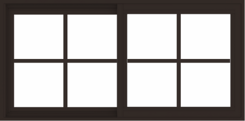 WDMA 48x24 (47.5 x 23.5 inch) Vinyl uPVC Dark Brown Slide Window with Colonial Grids Exterior