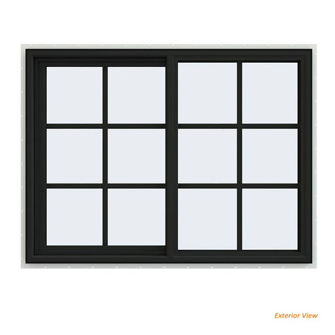 48x36 Bronze Color Vinyl PVC uPVC Sliding Window With Colonial Grids Grilles