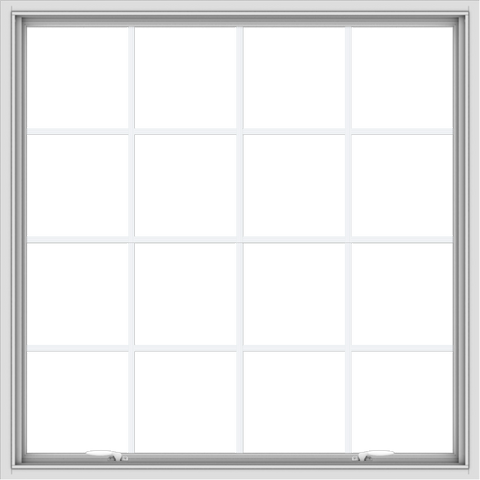 WDMA 48x48 (47.5 x 47.5 inch) White uPVC Vinyl Push out Awning Window with Colonial Grids Interior