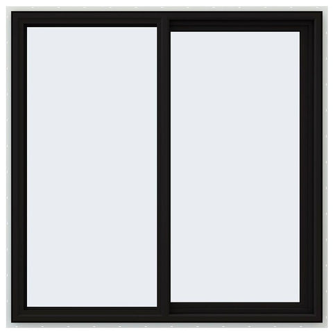 48x48 Black Vinyl Sliding Window With Fiberglass Mesh Screen