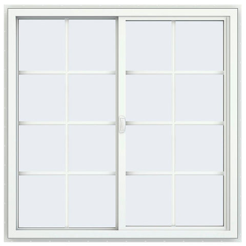 48x48 Black Color Vinyl PVC Sliding Window With Colonial Grids Grilles