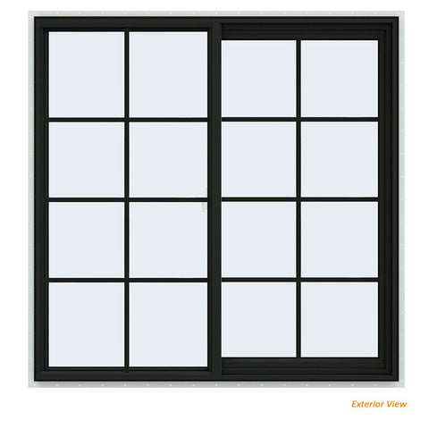 48x48 Vinyl Sliding Window Black With Colonial Grids Grilles