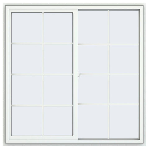 48x48 Vinyl Sliding Window White With Colonial Grids Grilles