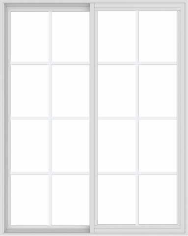 WDMA 48x60 (47.5 x 59.5 inch) Vinyl uPVC White Slide Window with Colonial Grids Exterior