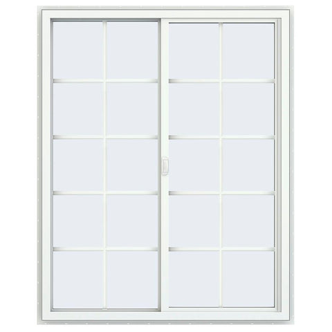 48x60 White Vinyl Sliding Window With Colonial Grids Grilles