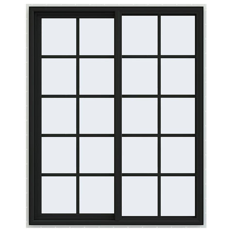 48x60 Black Vinyl Sliding Window With Colonial Grids Grilles