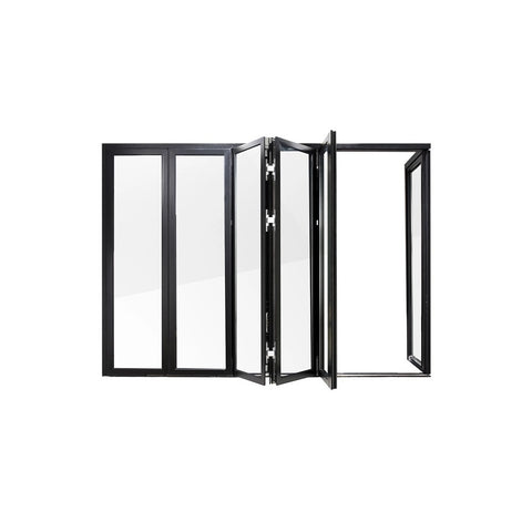 China WDMA German System Narrow Frame Series Bi-fold Window and Door Black Color