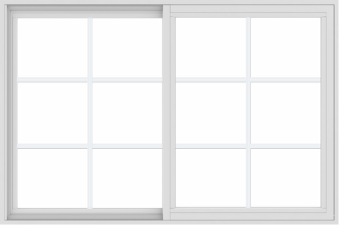 WDMA 54x36 (53.5 x 35.5 inch) Vinyl uPVC White Slide Window with Colonial Grids Exterior