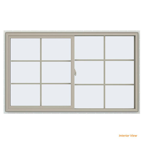 60x36 59.5x35.5 Bronze Vinyl Sliding Window With Colonial Grids Grilles