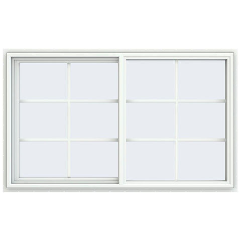 60x36 59.5x35.5 White Vinyl Sliding Window With Colonial Grids Grilles