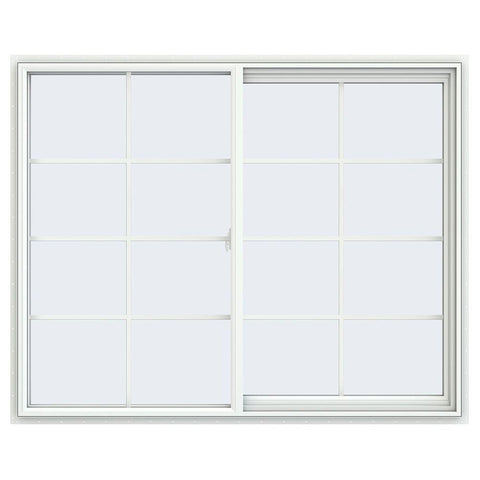 60x48 59.5x47.5 Window White Vinyl Sliding With Colonial Grids Grilles