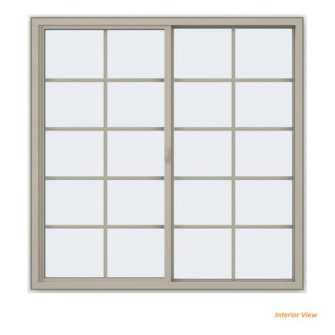 60x60 59.5x59.5 Bronze Vinyl Upvc Sliding Window With Colonial Grids Grilles