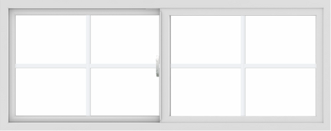WDMA 60x24 (59.5 x 23.5 inch) Vinyl uPVC White Slide Window with Colonial Grids Exterior