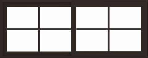 WDMA 60x24 (59.5 x 23.5 inch) Vinyl uPVC Dark Brown Slide Window with Colonial Grids Exterior