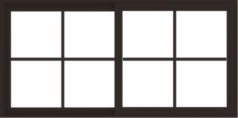 WDMA 60x30 (59.5 x 29.5 inch) Vinyl uPVC Dark Brown Slide Window with Colonial Grids Exterior