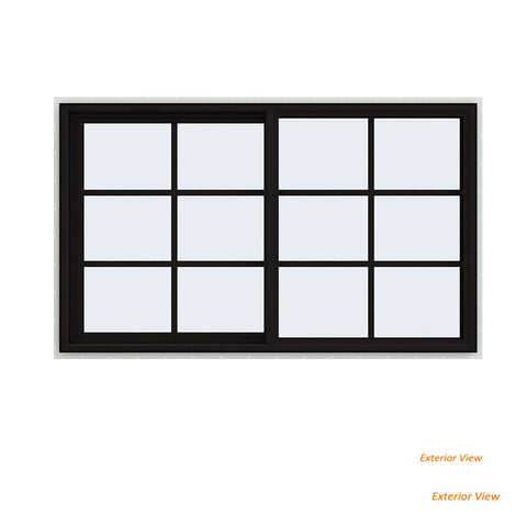 60x36 Black Vinyl Sliding Window With Colonial Grids Grilles