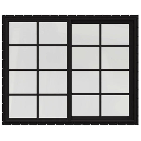 60x48 59.5x47.5 Black Vinyl Sliding Window With Colonial Grids Grilles