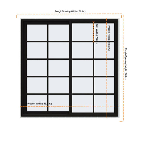 59.5x59.5 60x60 Black Vinyl Sliding Window With Colonial Grids Grilles