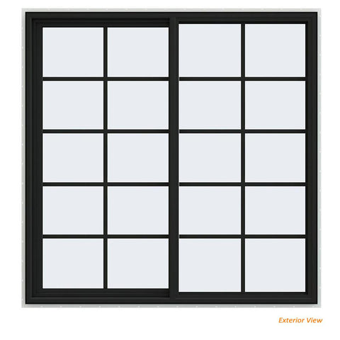 60x60 Vinyl UPVC Sliding Window White Interior Black Exterior With Colonial Grids Grilles