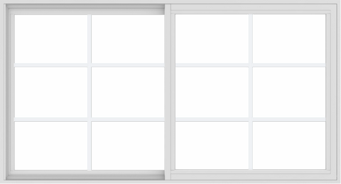 WDMA 66x36 (65.5 x 35.5 inch) Vinyl uPVC White Slide Window with Colonial Grids Exterior