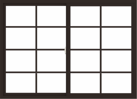 WDMA 66x48 (65.5 x 47.5 inch) Vinyl uPVC Dark Brown Slide Window with Colonial Grids Exterior
