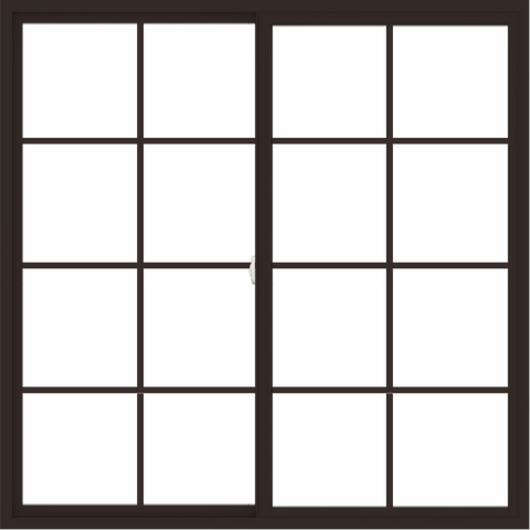 WDMA 66x66 (65.5 x 65.5 inch) Vinyl uPVC Dark Brown Slide Window with Colonial Grids Exterior