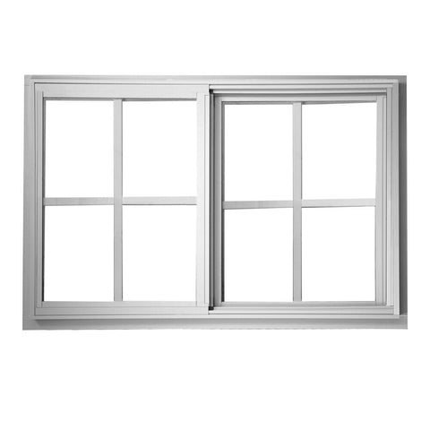 72x48 71.25x47.25 White Thermal Break Aluminum Sliding Window With Low-E Glass with Grilles between Glass