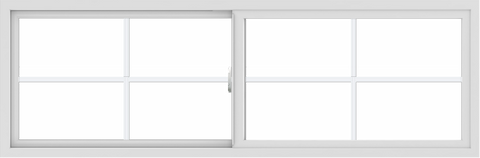 WDMA 72x24 (71.5 x 23.5 inch) Vinyl uPVC White Slide Window with Colonial Grids Exterior