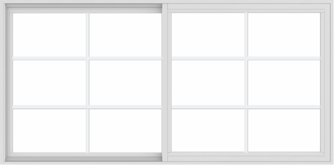 WDMA 72x36 (71.5 x 35.5 inch) Vinyl uPVC White Slide Window with Colonial Grids Exterior