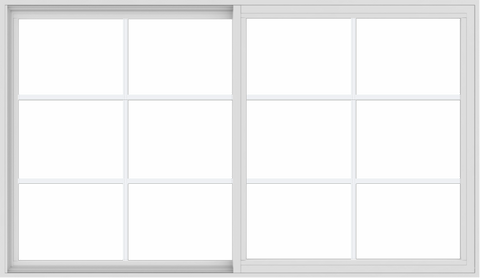 WDMA 72x42 (71.5 x 41.5 inch) Vinyl uPVC White Slide Window with Colonial Grids Exterior
