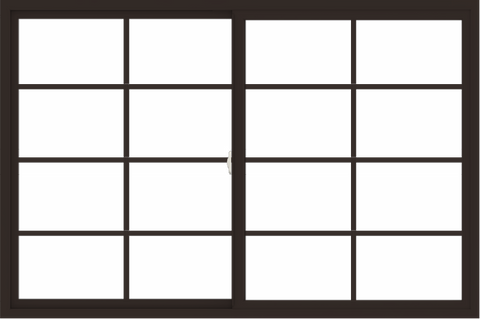 WDMA 72x48 (71.5 x 47.5 inch) Vinyl uPVC Dark Brown Slide Window with Colonial Grids Exterior
